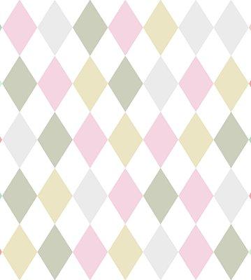 Papel de Parede Losangos Tons Pastel com Brilho Perolado Bobinex Renascer 6239 Vinílico