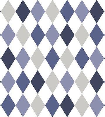 Papel de Parede Losangos Tons de Azul e Cinza Bobinex Renascer 6246 Vinílico