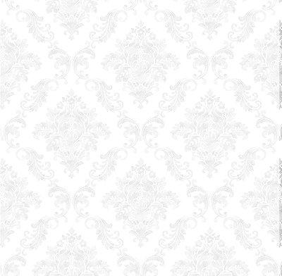 Papel de Parede Damask Gelo Branco com Brilho Perolado Bobinex Renascer 6247 Vinílico