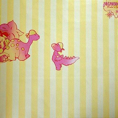 Papel de Parede Dinossauro Pirata Tons de Amarelo Kawayi 312104 Vinílico