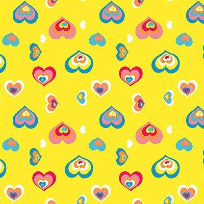 Papel de Parede Corações Amarelo Limão Kawayi 312203 Vinílico