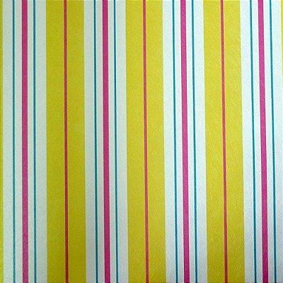 Papel de Parede Listrado Limão, Rosa, Azul e Branco Kawayi 312503 Vinílico