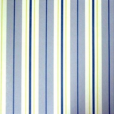 Papel de Parede Listrado Azul, Amarelo e Branco Kawayi 312505 Vinílico