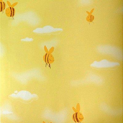 Papel de Parede Abelinhas Tons de Amarelo Kawayi 312601 Vinílico