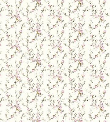 Papel de Parede Flores Rosa com Fundo Bege