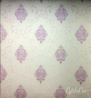 Papel de Parede Adamascado Lilás e Off-White com Brilho Kantai Grace Vinílico GR920202
