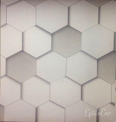 Papel de Parede Geométrico 3D Tons de Cinza Kantai Grace Vinílico GR920801