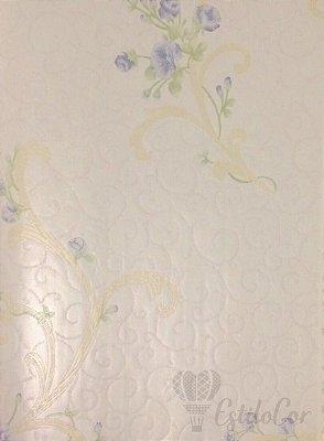 Papel de Parede Arabesco e Flores Tons de Azul com Brilho e Relevo Kantai Grace Vinílico GR921503