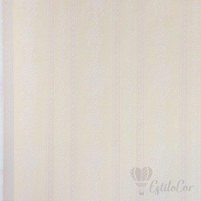 Papel de Parede Listras Estilizadas Creme com Brilho e Relevo Kantai Grace Vinílico GR921801