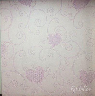 Papel de Parede Corações Tons de Rosa Leve Brilho e Relevo Kantai Grace Vinílico GR921602