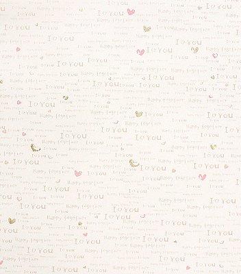 PAPEL DE PAREDE I LOVE YOU (TONS DE ROSA/ COM BRILHO)
