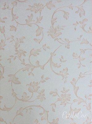 Papel de Parede Floral Off-White e Bege Vinílico