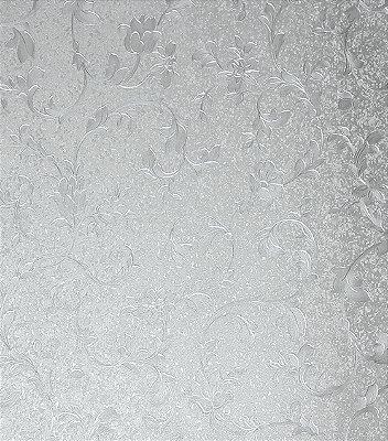 Papel de Parede Floral Prata Vinílico