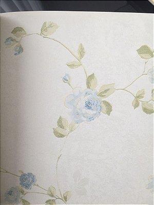 Papel de Parede Vinílico Roseira (Tons de Azul/ Gelo/ Verde/ Leve Dourado/ Levíssimo Relevo)
