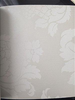 Papel de Parede Vinílico Floral Marcante e Folhagem (Verde Acinzentado/ Tom Claro/ Efeito Perolado/ Detalhes com Relevo)