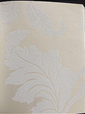 Papel de Parede Vinílico Floral Marcante e Folhagem (Tons de Bege/ Efeito Perolado/ Detalhes com Relevo)