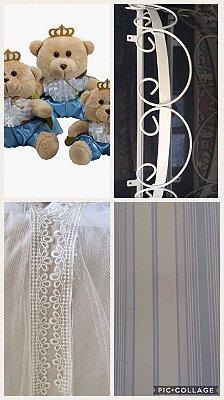 Kit Papel de Parede (3362), Dossel Branco, Mosquiteiro de Tule e Trio de Urso Principe Azul Claro