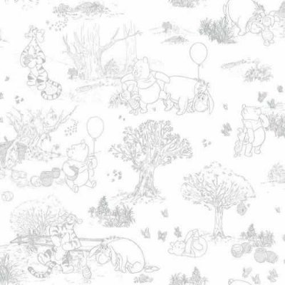 Papel de Parede Ursinho Pooh Cinza DS0224