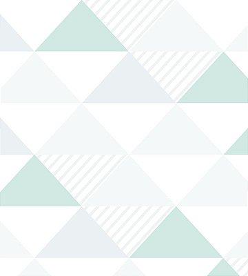 Papel de Parede Triangulo Cinza, Verde e Branco