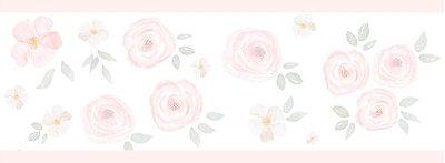 Faixa de Parede Floral Rosa