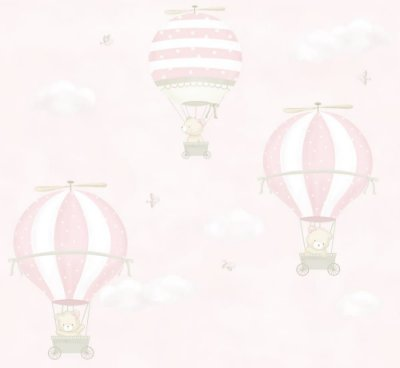 Papel de Parede Balão Ursos Rosa
