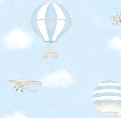 Papel de Parede Balão Avião Azul