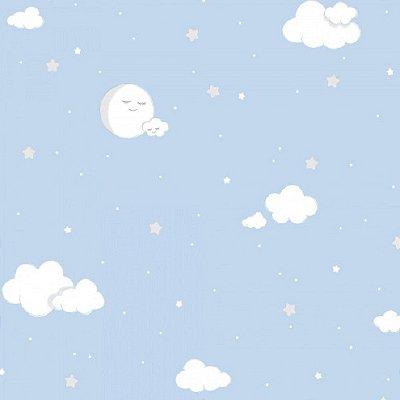Papel de Parede Lullaby Lua Cheia Nuvem Azul 2211