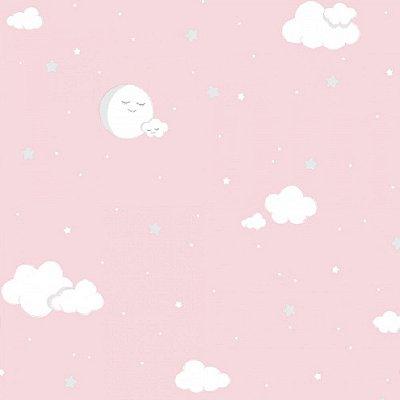 Papel de Parede Lullaby Lua Cheia Nuvem Rosa 2212