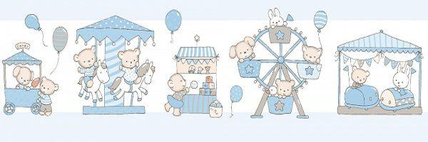 Faixa Papel de Parede  Lullaby Carrossel Azul 2401