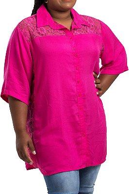 Camisa Stuhler Rosa Plus Size