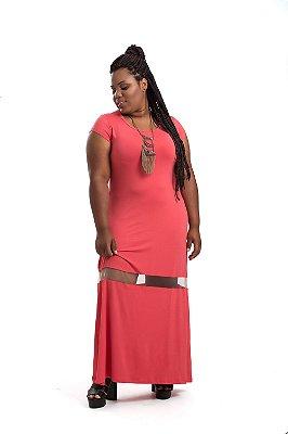 Vestido Berthage Longo Laranja Plus Size