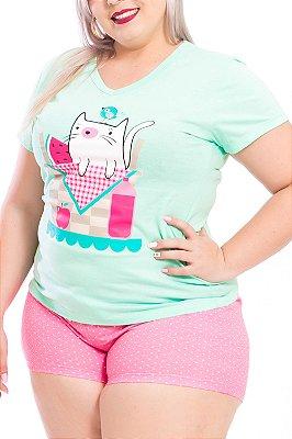 Pijama Bela Notte Verde e Rosa Plus Size