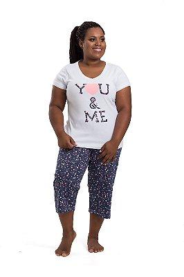 Pijama Mensageiros dos Sonhos Azul e Branco Plus Size