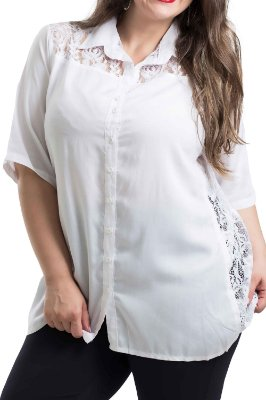 Camisa Stuhler Branca Plus Size