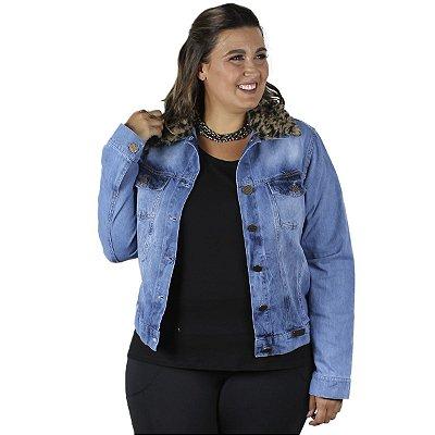 Jaqueta Jeans Claro com Gola de Onça Removível Stuhler Plus Size