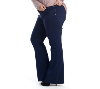 Calça Bengaline Flare e Recorte Comprida AllZap Marinho Plus Size