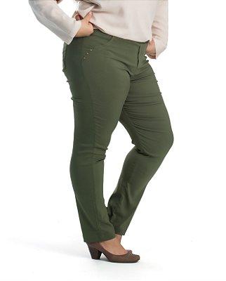 Calça Bengaline com Recortes na Frente Allzap Verde Militar Plus Size