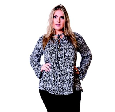 Blusa Visco Voil Estampado Lepoque Plus Size