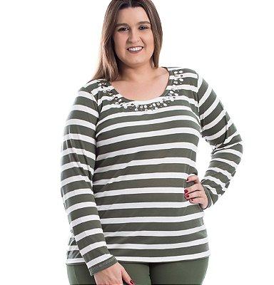 Blusa de fio Listrada com Strass Primaior Plus Size