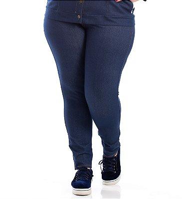 Legging Malha Jeans Primaior Preto Plus Size