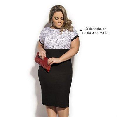 Vestido em Viscolycra com Renda  Primaior Plus Size