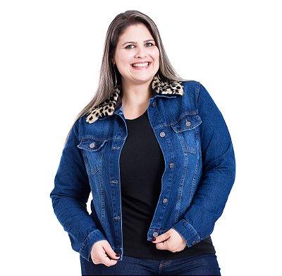 Jaqueta Jeans  com Gola de Onça Removível Stuhler Plus Size