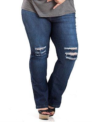 Calça Jeans Destroyed Flare com Elastano Stuhler Plus Size