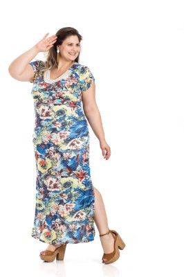 Vestido Longo Estampado Tecido Fino Primaior Plus Size