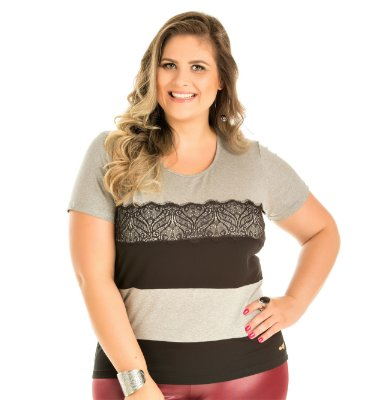 Blusa Viscose Renda Wind Life Plus Size