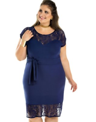 Vestido em Viscolycra com Detalhe em Renda Primaior Plus Size