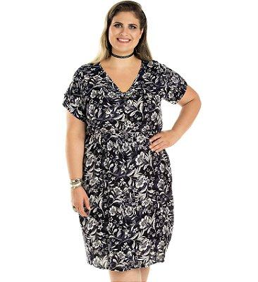 Vestido em Viscose Com Botão e Elástico na Cintura Primaior Estampado Plus Size