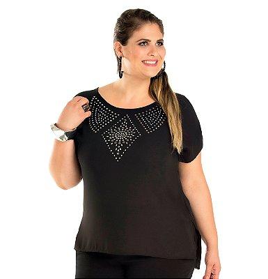 Blusa em crepe com Strass Primaior Plus Size