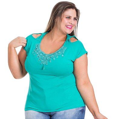 Blusa Viscolycra com detalhe em Guipir Gracia Plus Size