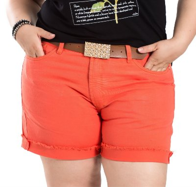 Shorts com Cinto By Unna Laranja Plus Size